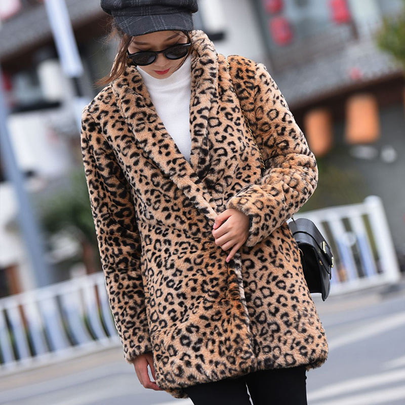 GOPLUS 2019 Winter Faux fur Leopard Coat Women Sexy V Neck Fluffy Thick Warm Long Coats Elegant Pockets Outwear Overcoat Female