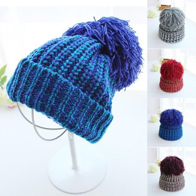 7ce78de3af9 2017 new big pom poms ball mixed color winter hat for women girl  s ...