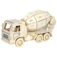 A Toys For Children 3d Puzzle Diy Wooden Puzzle Mixer Truck A Kids Toys Also Suitable