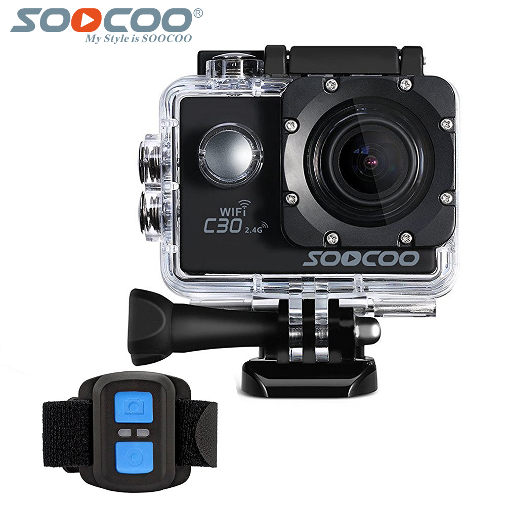 SOOCOO C30 Action 4K Sport Camera with remote control, NTK96660 Waterproof Wifi Gyro 70-170 Degrees Adjustable Action sports Cam soocoo c30 sports action camera wifi 4k gyro 2 0 lcd ntk96660 30m waterproof adjustable viewing angles