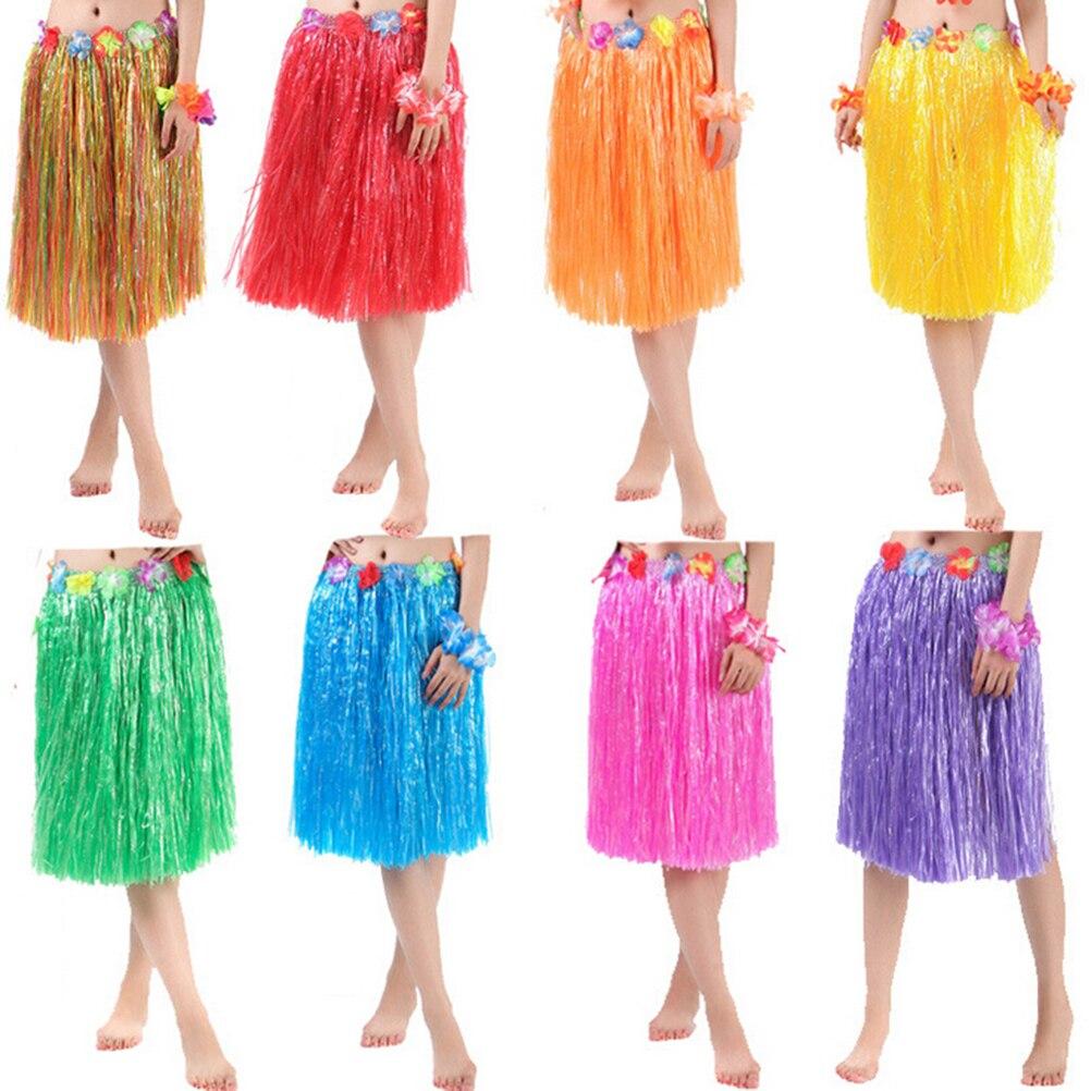 1pcs hawaiian costume plastic fibers women grass skirts hula skirt 1pcs hawaiian costume plastic fibers women grass skirts hula skirt with flower wholesale ladies dress up 10 colors on sale izmirmasajfo