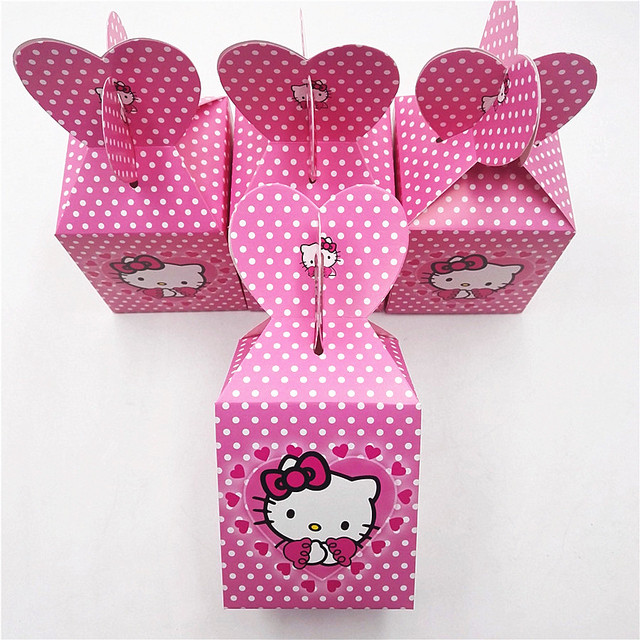 8a51a665a638 6pcs Hello Kitty Birthday Party Supplies Cat Candy Box Baby Birthday Party  Decoration And Favour Event Party Supplies Favors