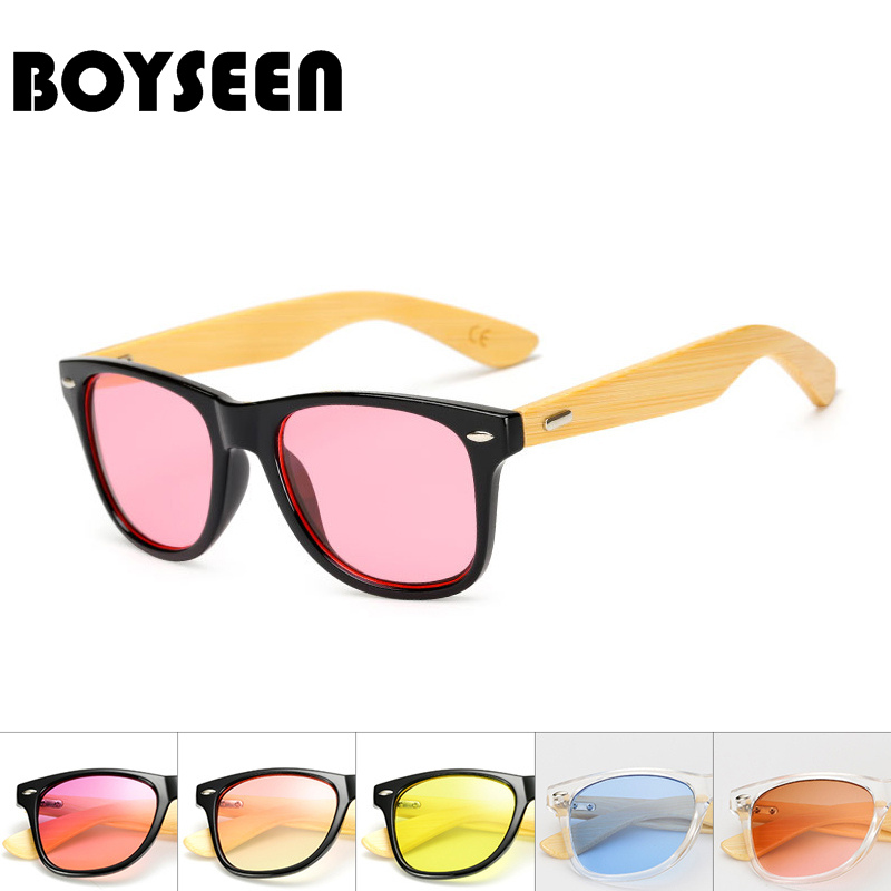 BOYSEEN Retro Wood Sunglasses Men Bamboo Sunglass Women Brand Design Sport Goggles Gold Mirror Sun Glasses Shades lunette 1501H