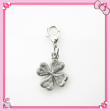Hot selling 20pcs/lot Four Leaf Clover dangle charms for glass memory floating lockets lobster clasp charms diy jewelry