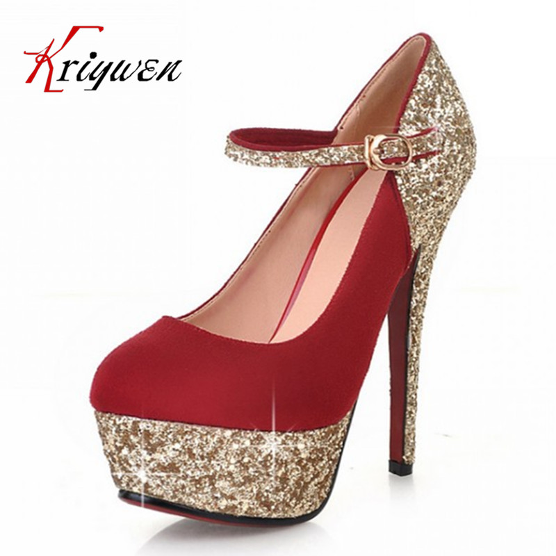 Hot!2015 new summer spring Pumps sexy lady woman bling pumps glitter buckle round toe high heels shoes club party - Kriywen Store store
