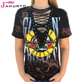 Guns n roses jahurto camisetas para mujeres low cut hollow out Lace Up Top Sexy Punk Rock Camisetas Gráficas de Las Mujeres Camisa de Color Negro