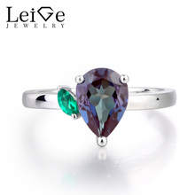 Leige Jewelry Alexandrite Ring Engagement Ring June Birthstone Pear Cut Gemstone Solid 925 Sterling Silver Gifts for Women