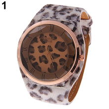 Oversized Womens Leatheroid Strap Charm Leopard Print Watches Quartz Wrist Watch