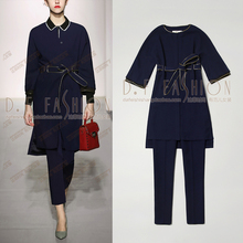 Crop Top And Skirt Set Limited 2016 Raglan Sleeve Coat + Nine High Waisted Pencil Pants Suit 2 Piece Set Women Winter Jacket