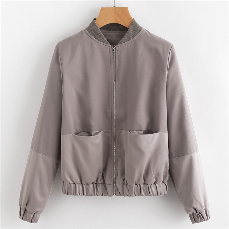 SHEIN Womens Autumn Casual Jackets Ladies Color Block Pocket Zipper Front Stand Collar Long Sleeve Basic Jacket Coat Outwear 11