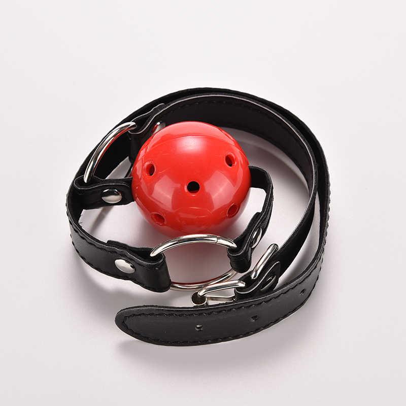 1 قطعة ألعاب الكبار كرة سيليكون تثبيت الفم عبودية الفم الكمامة الفم محشوة ربطة جلدية مطاطية الجنس لعب للأزواج