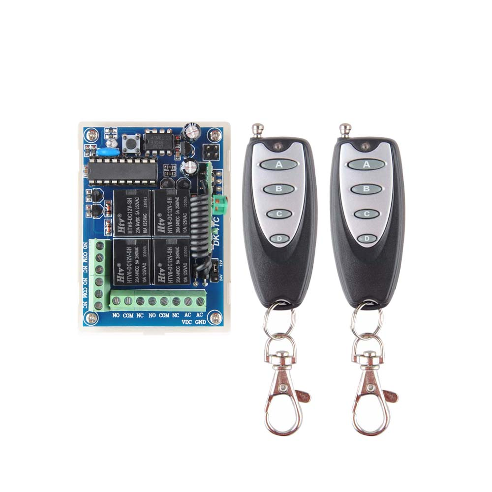 Receiver Transmitter DC 12V 24V Multi-function Relay Wireless Remote Control Switch Learning Normally Open/Closed 433.92MHZ амелия ватные диски 80 шт