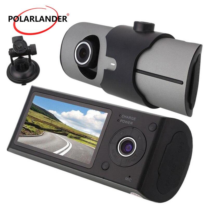 Double lentille voiture DVR R300 avec Module GPS g-sensor caméscope caméra enregistreur 2.4