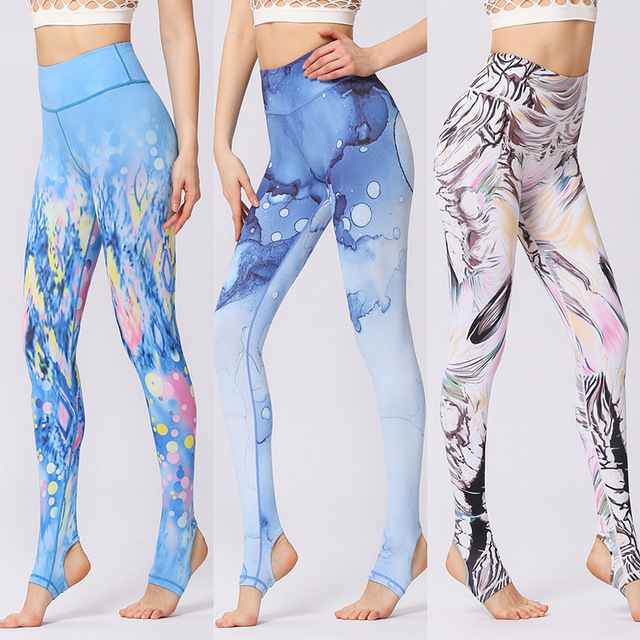 Printed Tummy Control Yoga Pants  with High Waist
