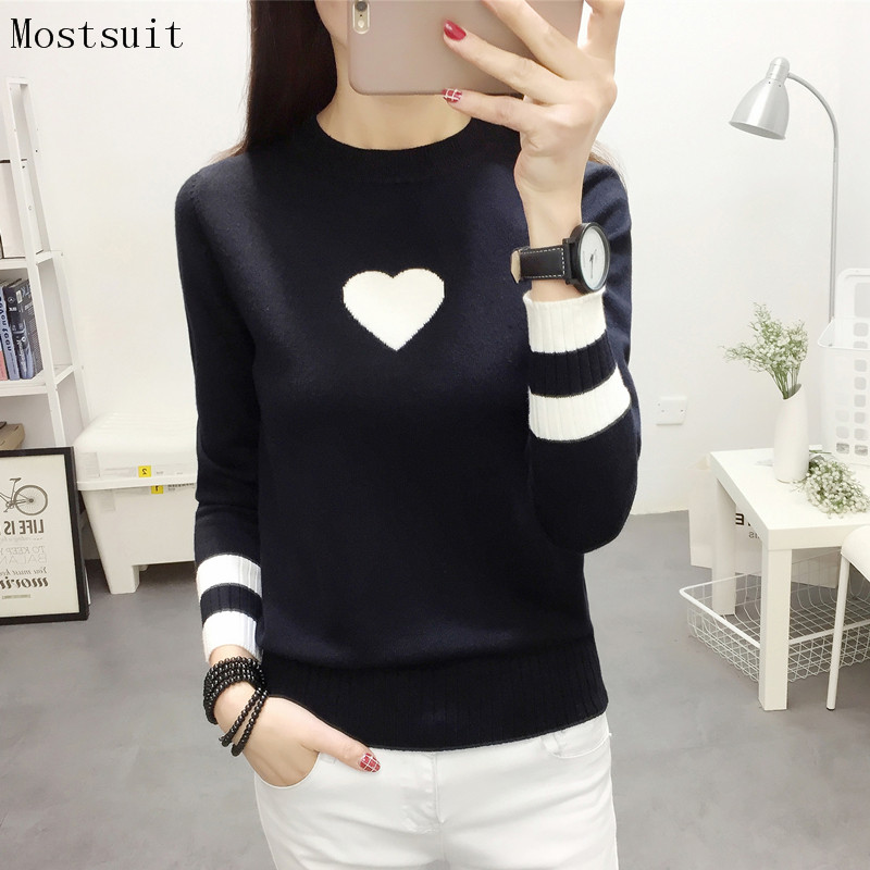 Autumn Black White Knitted Pullovers Sweater Women Heart Elastic Stretchy Long Sleeve Basic Tops Korean Casual Pullover Feminino