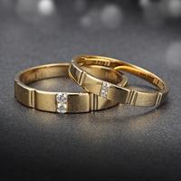 18 К желтого золота с бриллиантами обручальное кольцо пару комплект 0.03 + 0.02ct diamond Ювелирные изделия ручной работы для Обручение