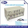 CKL-84UA 4 Portas USB 2.0 Kvm VGA com Controle de Som 4 Computadores Auto Vídeo Switcher para Teclado Mouse