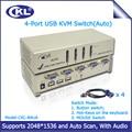 CKL-84UA 4 Puertos USB 2.0 Conmutador kvm VGA con Sonido Controlar 4 Computadoras Auto Switcher para Teclado, Video, Mouse