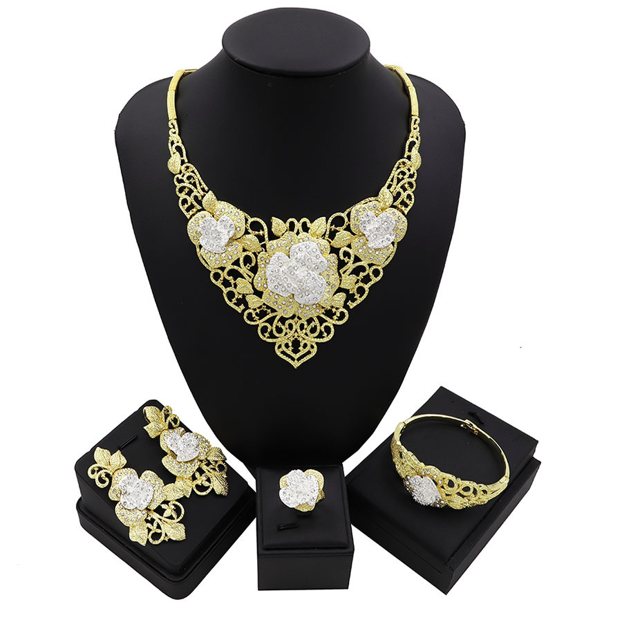 TSROUND Rose Flower Cubic Zircon Earring Necklace Set Indian African Bridal Jewelry Sets