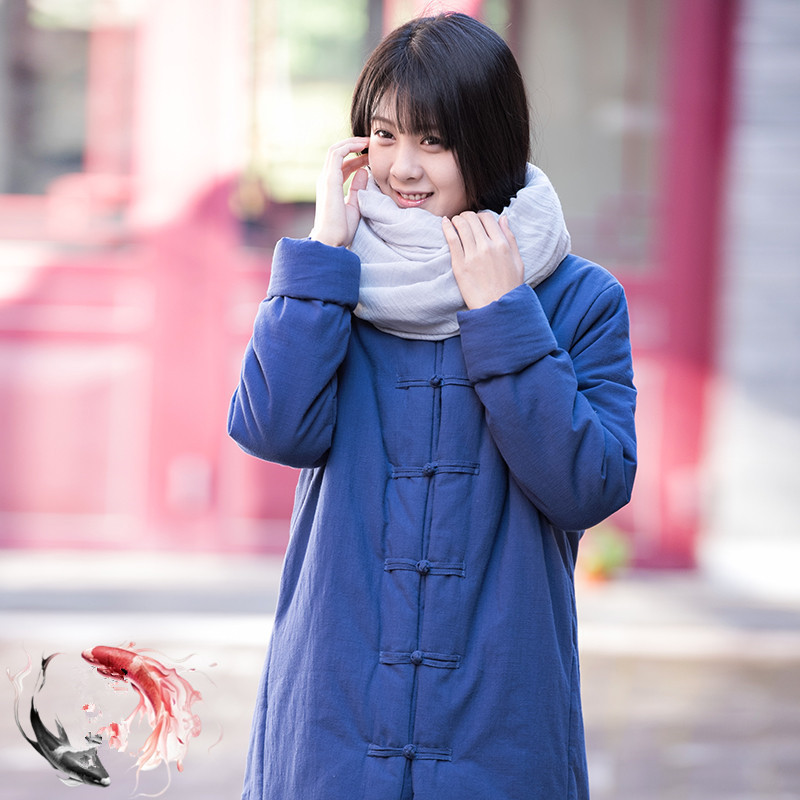 ФОТО Winter New Original Lady's Cotton-padded Clothes Contracted Thermal Pure Linen Cotton Linen Coat