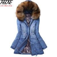 2015 New Winter Coat Women Big Raccoon Fur Hooded Brand Thick Warm Outwear Fashion Casual Denim
