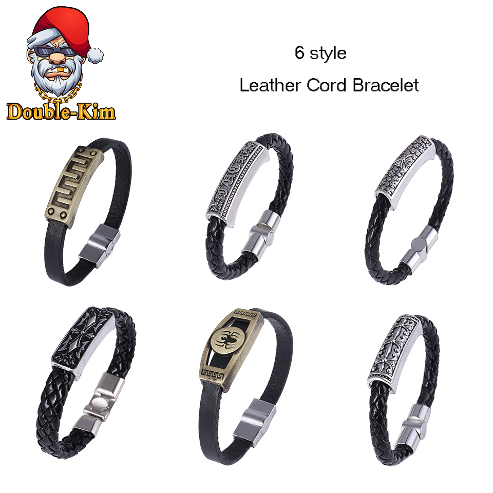 6 Style Contracted Style Leather Rope Bracelet Hip-Hop Street Culture PU Leather Rope Man Bracelet Fashion Trendy Men Jewelry