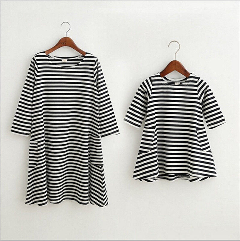 Mother and Daughter Dress Family Match Clothes Long Sleeve Striped Casual Midi Dresses One Pieces Outfits