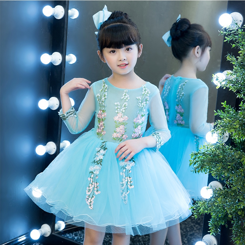2017 New Korean Sweet Kids Babies Blue Color Embroidery Flowers Princess Birthday Party Dress Children Ball Gown Tutu Dresses korean style different flowers and plant of 50 chinese embroidery handmade art design book