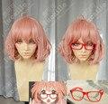 Kyokai não kanata Kuriyama Mirai SUNCOS fio de alta temperatura 30 cm rosa curto cosplay peruca anime óculos vermelhos frete grátis + Cap