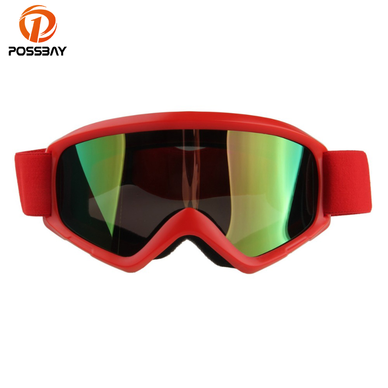 POSSBAY Multicolor Lens Unisex Skiing Snowboard Goggles UV Protection Windproof Dustproof Motocross Dirt Bike Cycling Glasses