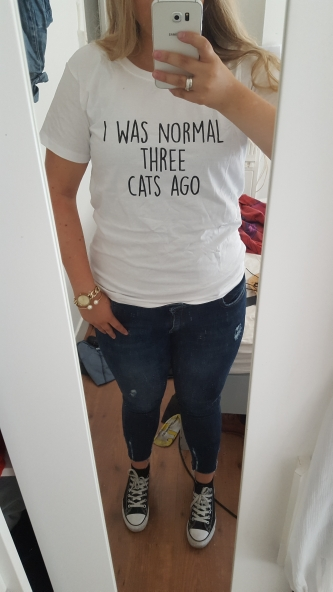 I WAS NORMAL THREE CATS AGO Letters Print Women Tshirt Cotton Casual Funny t Shirt For