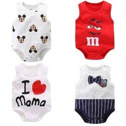 Летние детские комбинезоны без рукавов Одежда для новорожденных мальчиков Модная одежда с принтом для маленьких девочек одежда для малыше...