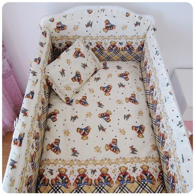 Promotion! 6PCS baby cot kit berco baby bed linen cuna jogo de cama kid (bumper+sheet+pillow cover) promotion 6pcs baby bedding set crib sabanas cuna ropa de cuna boy bumper cradle cot linen bumpers sheet pillow cover
