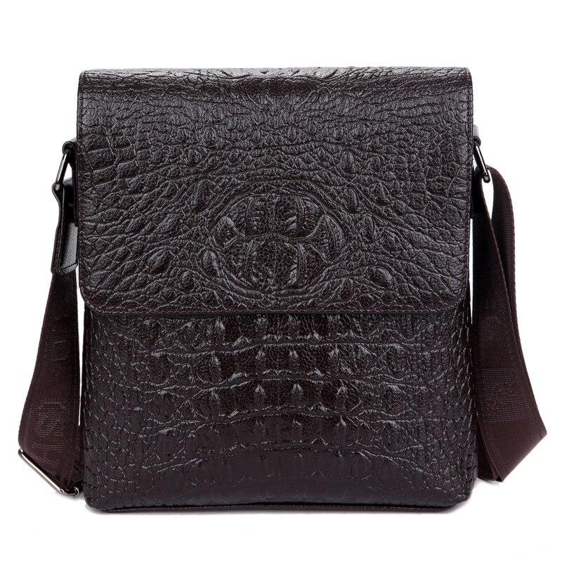 Men bag men messenger bags mens leather flap shoulder bag designer brand high quality men's travel bags crocodile black brown