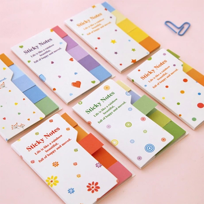 3pcs/set Double face double color Cute Rainbow color N stick Notes Posted Memo Pad Korean Planner Stickers Stationery 6566