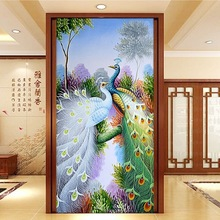 A couple peacock picture a symbol of love 3D diamond painting cross stitch  embroidery mosaic pattern wall sticker decor