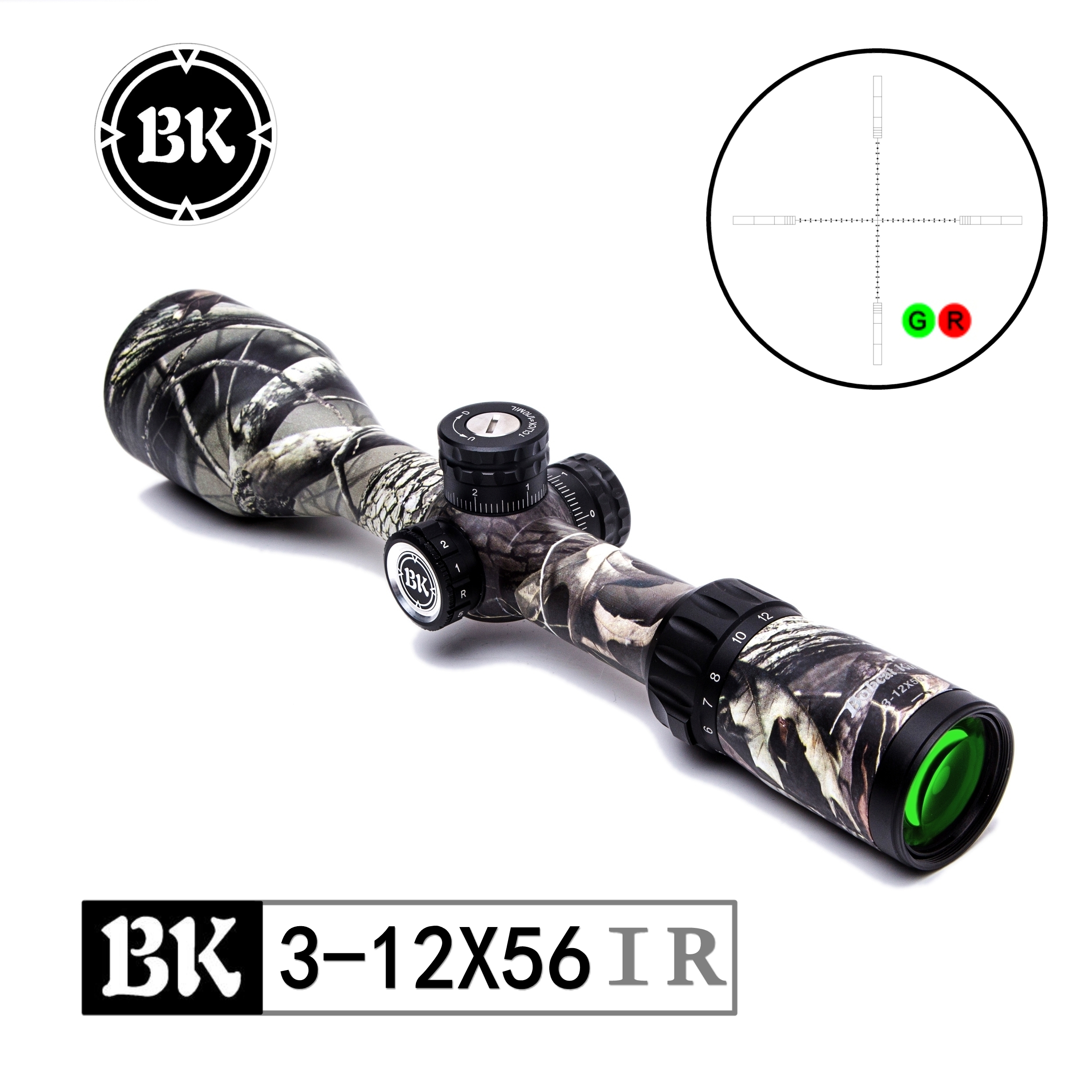 Bobcat King optical BK 3 12X56 IR hunting air gun riflescope illumination rifle sight with glass reinforced reticle fast focus in Riflescopes from Sports Entertainment