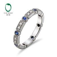 משלוח חינם יהלום עגול Cut 0.28ct מכירה חמה אירוסין ספיר 14 K זהב לבן טבעת נישואים בנד