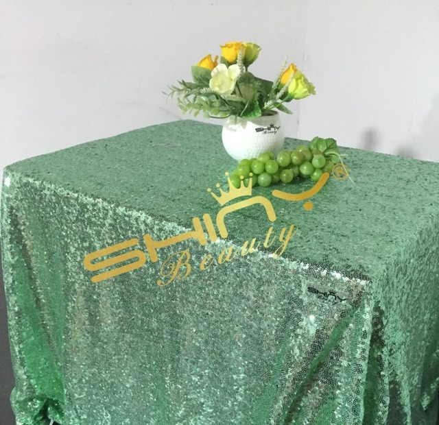 Glossy Mint Green Sequin Table Linens 50 50 Square Sequin