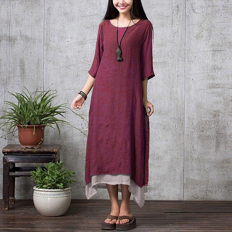 EaseHut Vintage Plus Size Dress Women O-neck Half Sleeve Side Slit Loose Casual Maxi Long Dress Kaftan Tunic Female Summer Dress