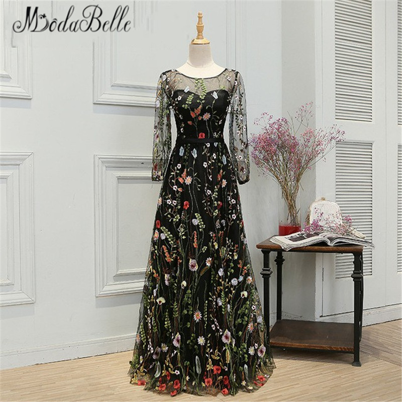 Modabelle Newest Style Black Long   Prom     Dresses   2017 Ballkleider Long Sleeve Sheer Back Floral   Prom     Dress   A-Line Gala Party   Dress