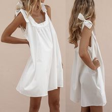 Women Summer Holiday Beach Boho Sundress Sleeveless Lace-up Bow Strappy Loose A-Line Frill Dress lace insert sleeveless a line dress