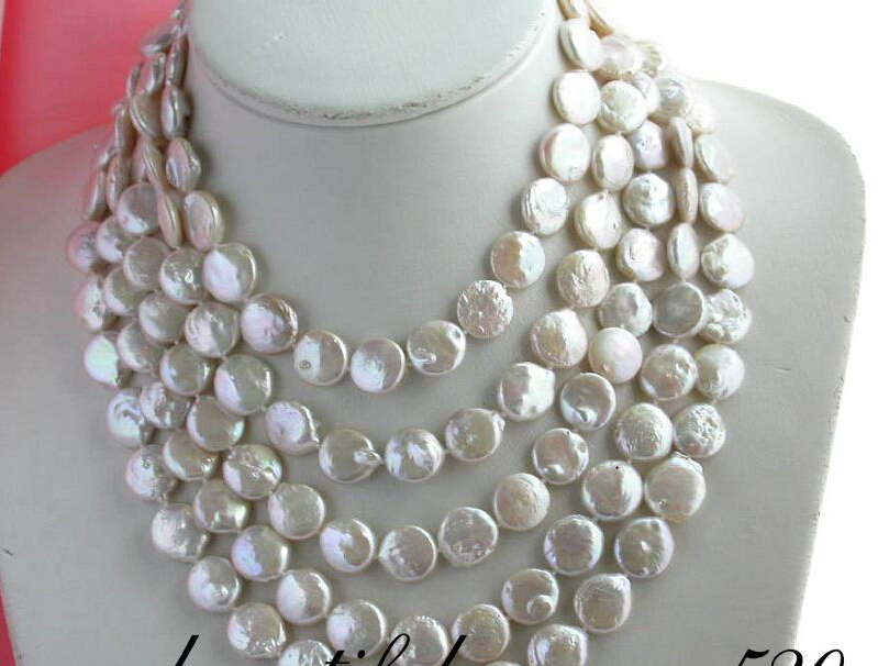 "FREE shipping>>>> z1978 long 100"" 14mm coin white freshwater pearl necklace new"