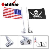Motorcycle Flag Pole Luggage Rack Vertical American Flag Fits For Honda GoldWing GL1800 2001 2011