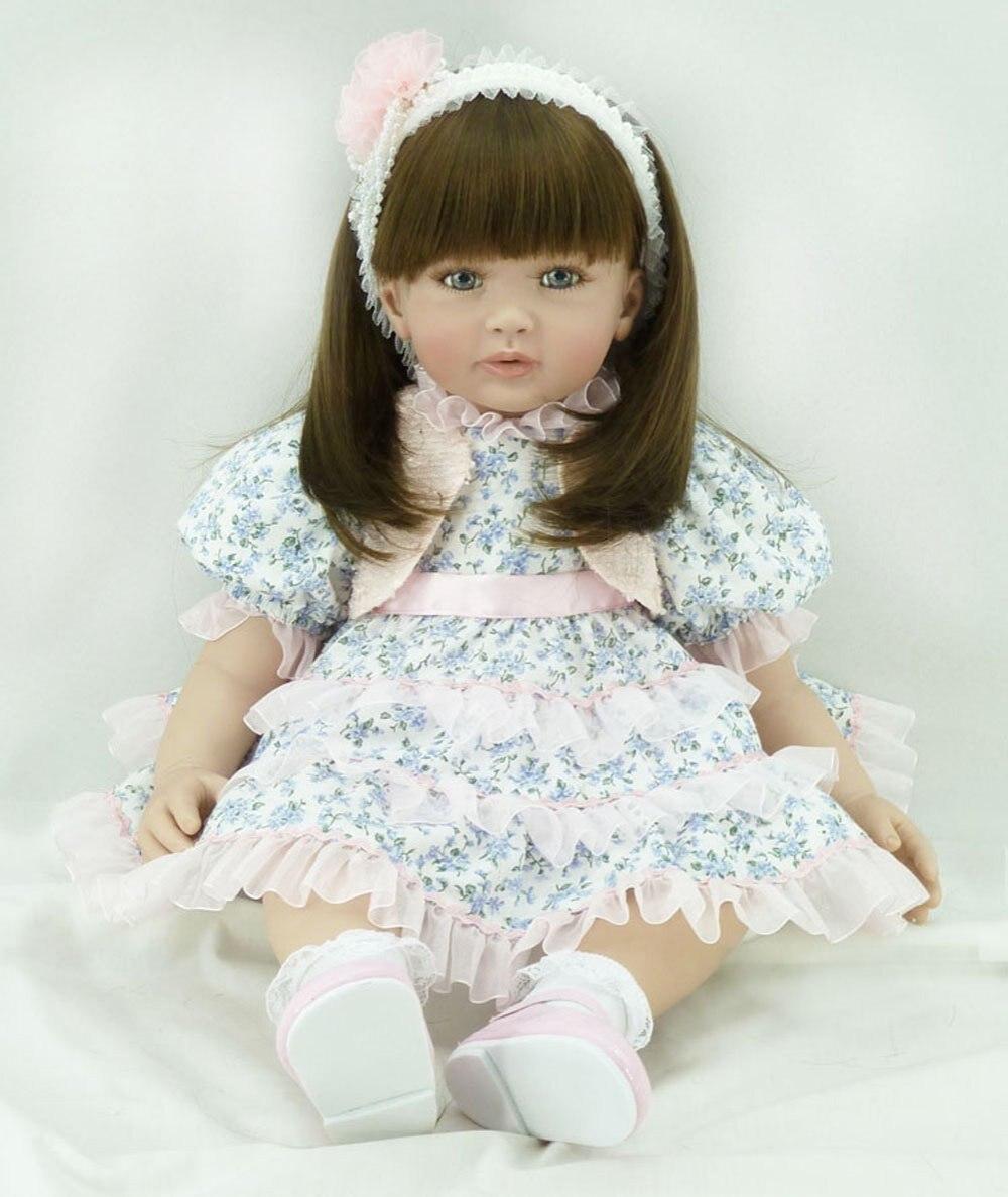 22 inch 55 cm Silicone baby reborn dolls lifelike doll reborn babies toys Lovely Flower skirt