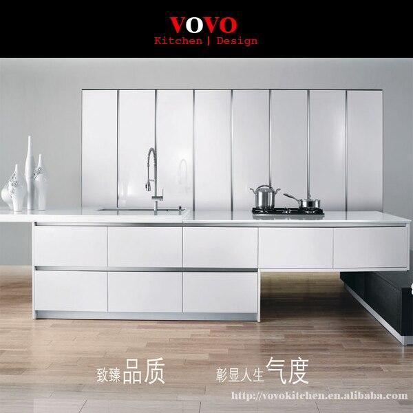 chapa de roble gabinete de la cocina con el color blanco de alto brillo de laca