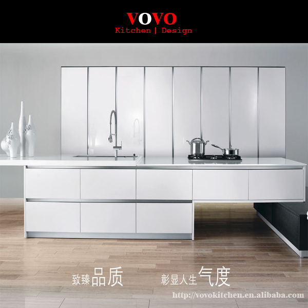 Oak Veneer Kitchen Cabinet With White Colour High Gloss