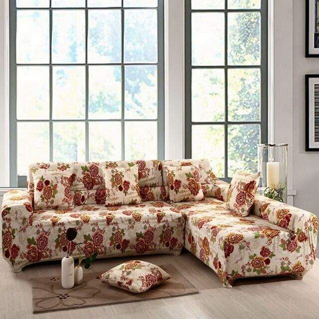 Sectional couch covers L-shaped sofa cover elastic universal Wrap the entire sofa Slipcover printed : buy sectional online - Sectionals, Sofas & Couches