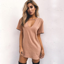 Plus Size Women Dress Summer 2019 new V-neck Dresses Short Sleeve Casual Sexy Halter Loose Boho Beach Mini Dress Vestidos цена