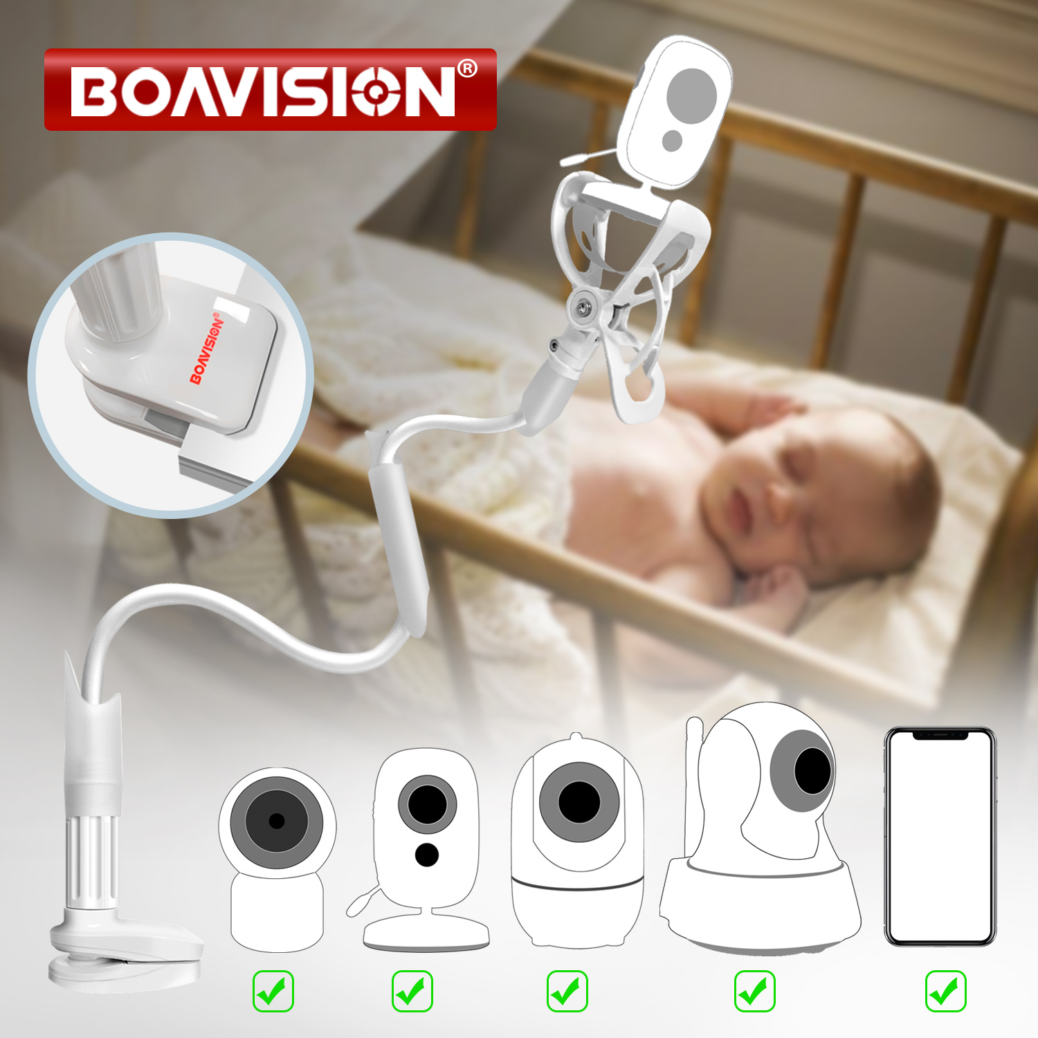 No Drilling Smartphone Stand Holder Flexible Baby Camera Mount Shelf for Your Baby Universal Baby Video Monitor Holder